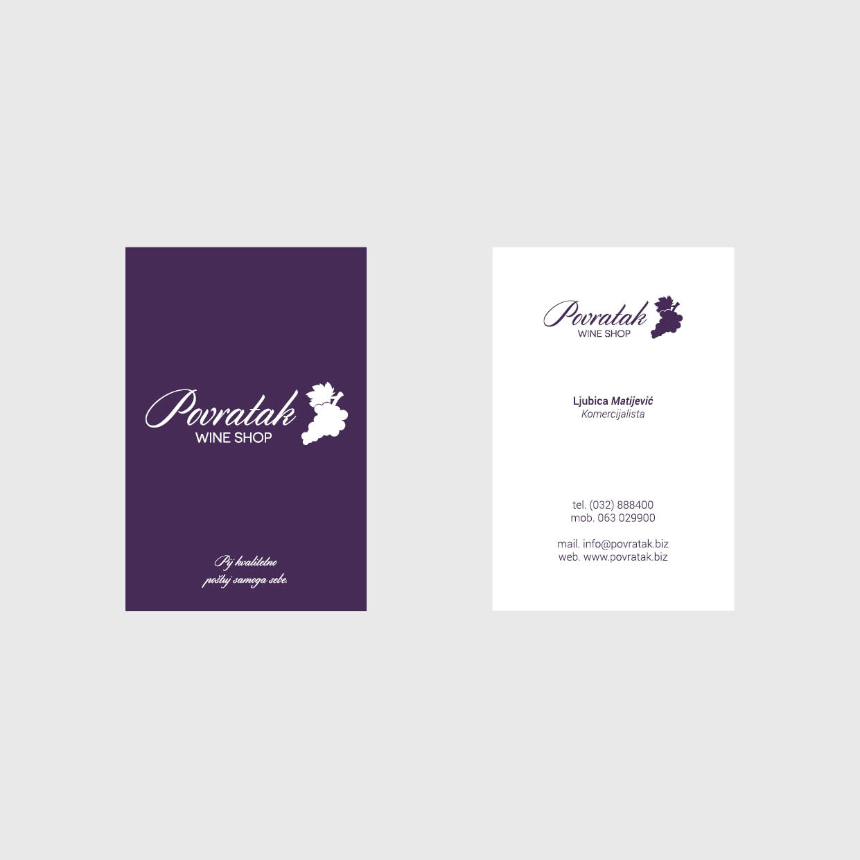 Stefania Stanga | Business Card and Roll-Up for Povratak – Wine Store